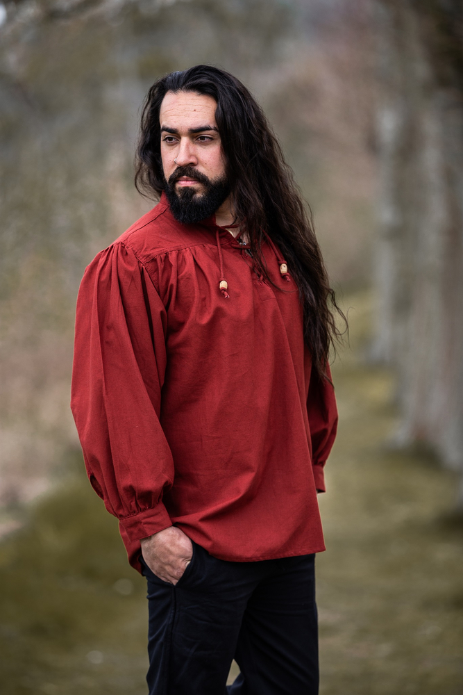 Typical medieval stand-up collar lace-up shirt Friedrich Red