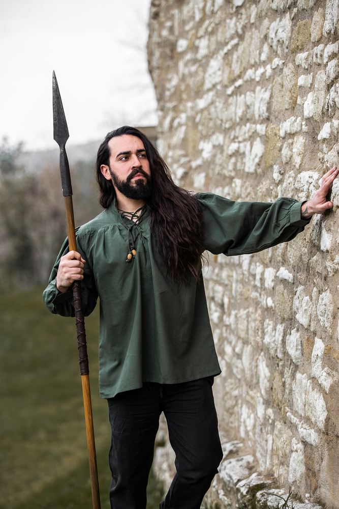 Typical medieval stand-up collar lace-up shirt Friedrich Green