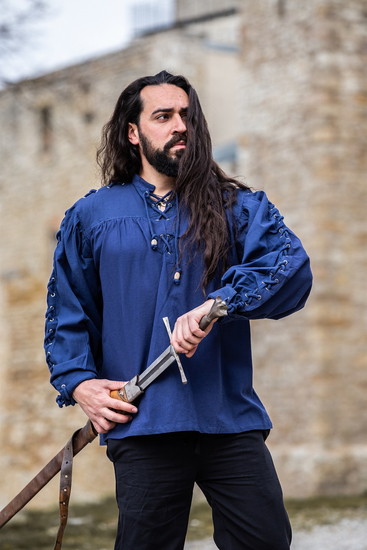 Medieval laced shirt with eyelets Adrian Blue