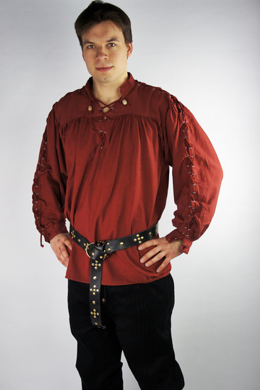 Medieval laced shirt with eyelets Adrian Red