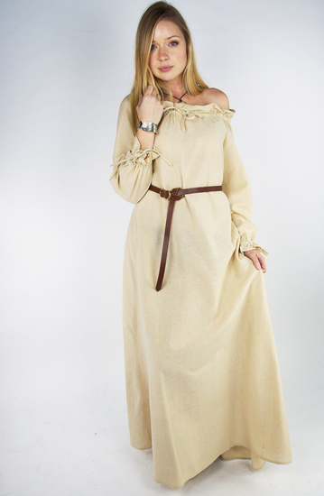 Floor-length long sleeve dress Mechthild Hemp