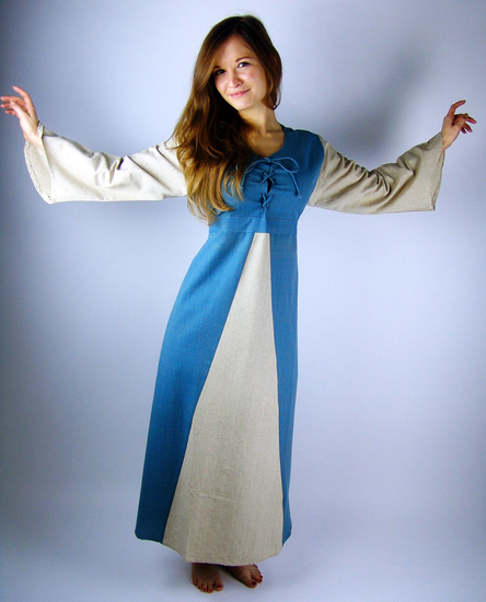 Medieval cotton dress Ilse dove blue/Natural
