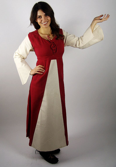 Medieval cotton dress Ilse Red/Natural