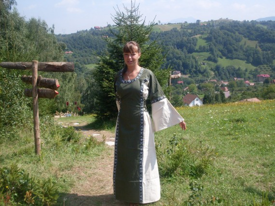 Medieval cotton dress Angie Green/Natural