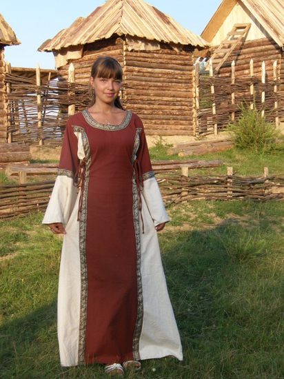 Medieval cotton dress Angie Red/Natural