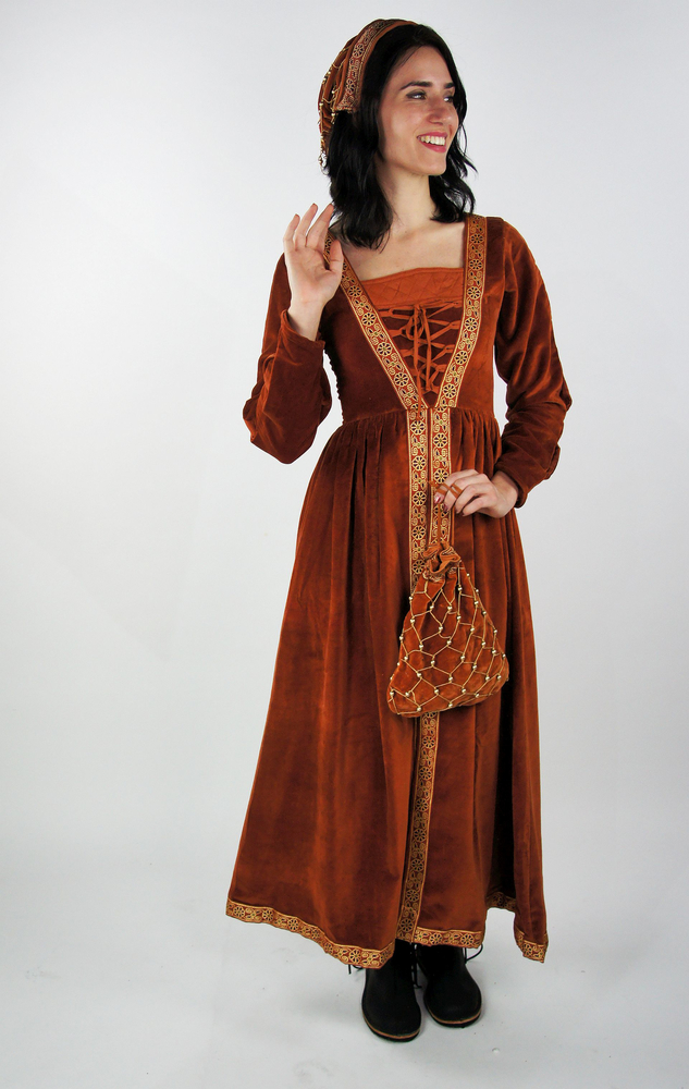 Medieval noble dress Queen Catherine Terracotta