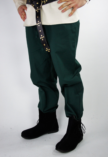 Medieval trousers with elastic band Clemens, wide cut Green