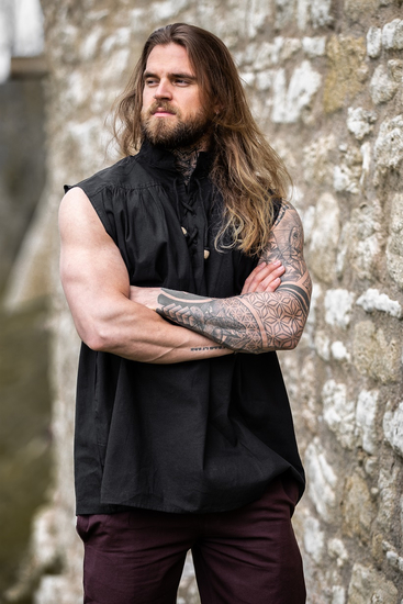 Sleeveless stand-up collar lace-up shirt Louis Black