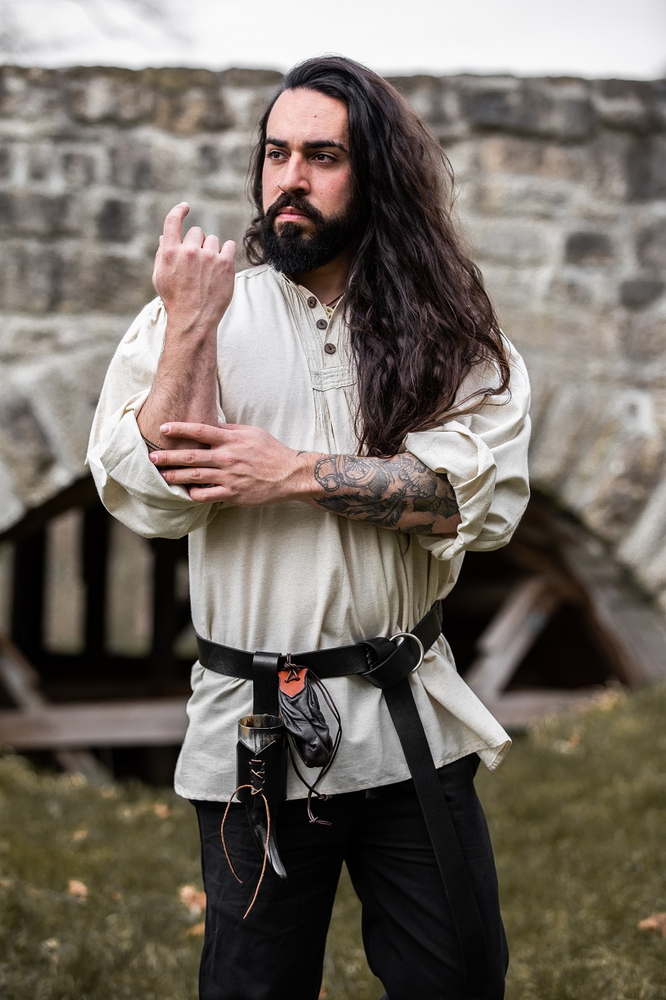 Pinafore shirt with wooden buttons Oswald Natural