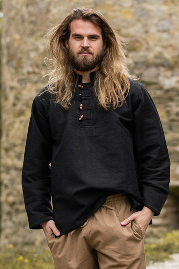 Medieval shirt in thick cotton Anton Black