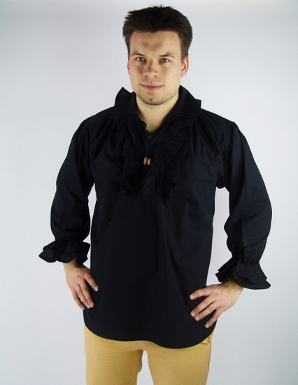 Frilled pirate shirt Dracula Black