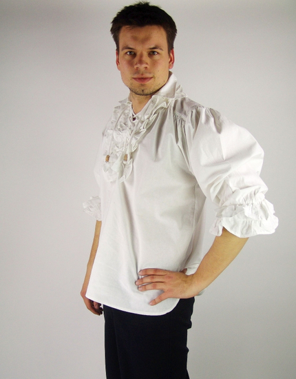 Frilled pirate shirt Dracula White