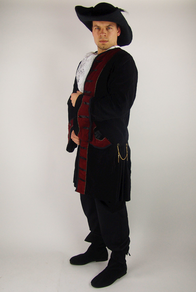 Pirate frock coat Jack black/Red