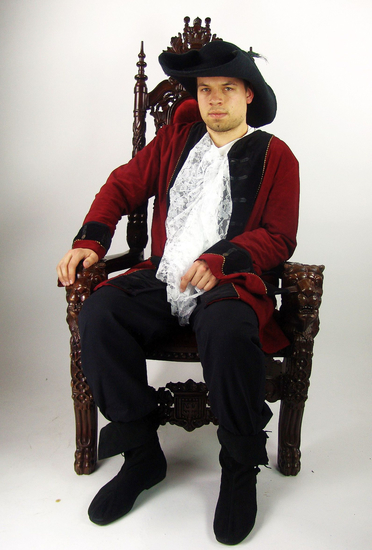 Pirate frock coat Jack Red/Black