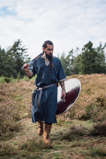 Short sleeve tunic with border Richard blue
