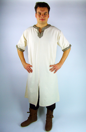 Short sleeve tunic with border Richard Natural