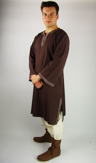 Tunic with border Halvor Dark brown