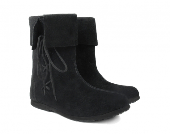 Suede leather boot tops for children Sigurd Black
