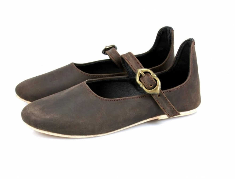 Medieval ladies shoes Cecilie with leather sole brown
