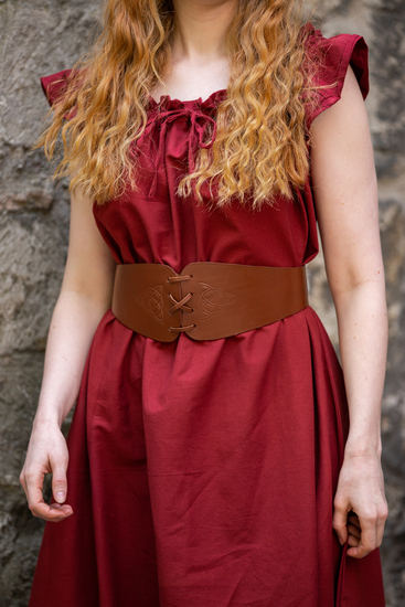 Corset belt Alana with celtic embossing brown