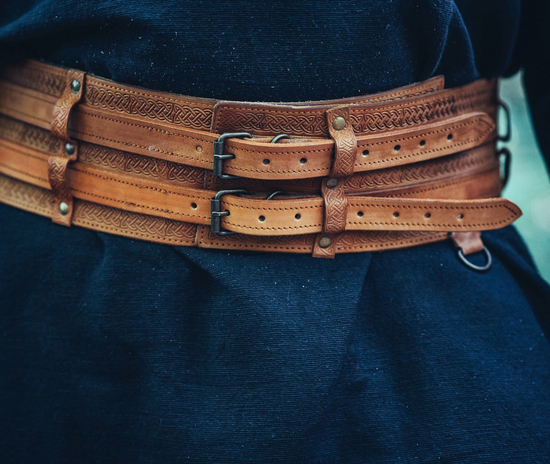 Viking belt Anike Cognac brown