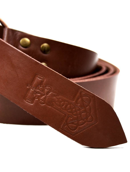 Ring belt with Thorshammer embossing brown