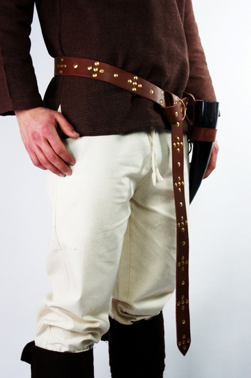 Viking ring belt made of robust leather brown