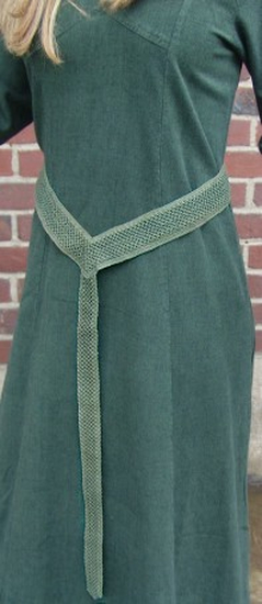 Cotton lace fabric belt green
