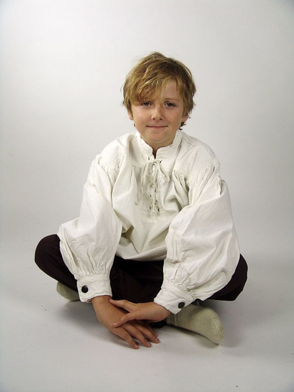 Kids stand-up collar lace-up shirt Finn White