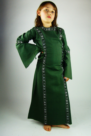 Princess dress with border Helena green