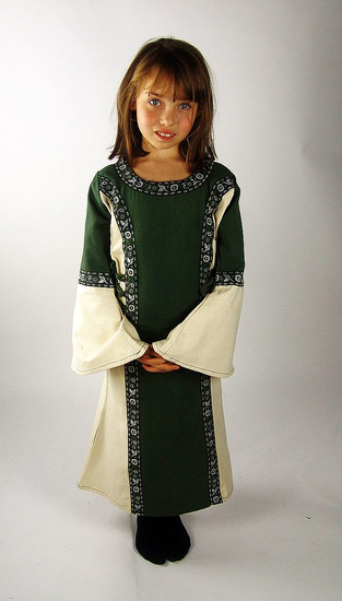 Princess dress with border Helena green/Natural