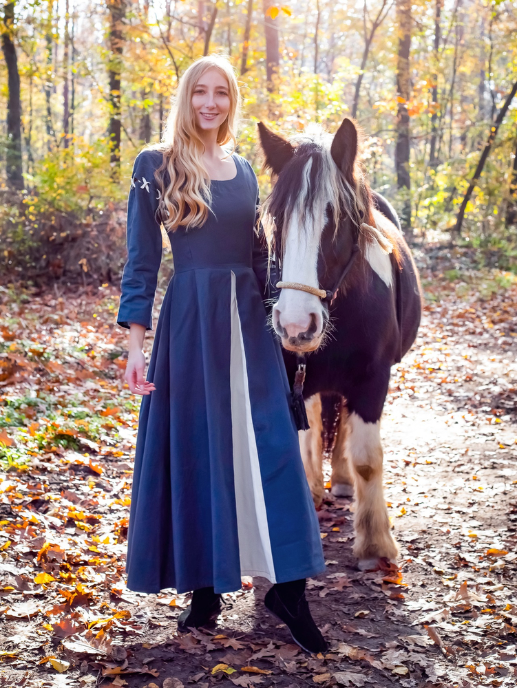 Medieval dress Larina dove blue/Natural