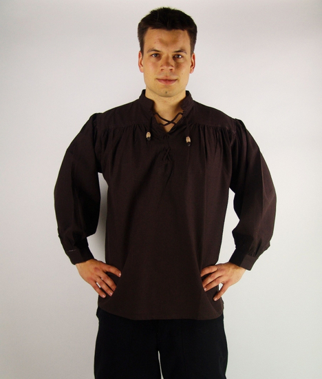 2055 Medieval stand-up collar lace-up shirt